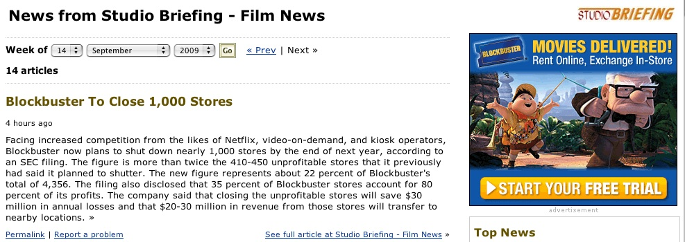 Blockbuster news screen grab